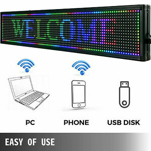 Us 40 x8 7 Color Outdoor Led Sign Programmable Scrolling Message Board With Usb