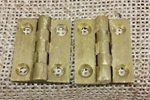 2 Old Cabinet Door Hinges Butts Vintage Brushed Cast Brass 1 X 7 8 Jewelry Box