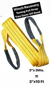 3 X10 3mts Winch Recovery Towing Pull Strap Tree Saver Off Road Tow Rope Chain