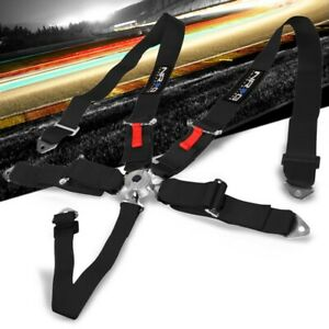 Nrg Sbh R6pcbk 5 Point Cam Lock Buckle Black Racing Safety 3 Seat Belt Harness