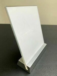 Tabletop Countertop Sign Holder Display Stand Clear Acrylic Silver Base 5 5x4