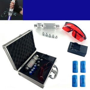 New Powerful Blue Light Laser Pointer Visible Beam W 4 16340 Batteries box Us