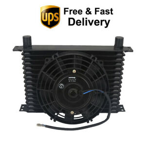 Engine Transmission Oil Cooler 15 Row 10an Universal With 8 Electoric Fan Kit