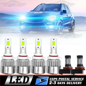 6x Cob Led Headlight Fog Light Bulbs 8000k For Mitsubishi Lancer 08 17 Ice Blue