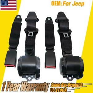 2 Universal 3 Point Retractable Seat Belts Fit For Jeep Cj Yj Wrangler 1982 95