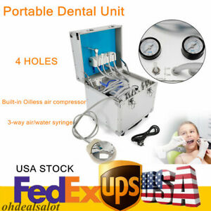 110v Portable Dental Unit Mobile Case 4 Holes W Built in Oilless Compressor Hot