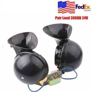 Pair Loud 300db 24v Electric Snail Horn Air Horn Raging Sound For Car Truck Us
