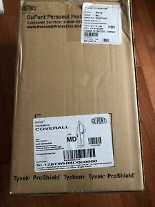 New Dupont Tychem Sl Protective Coverall Suit W Hood Size Medium White Hazmat
