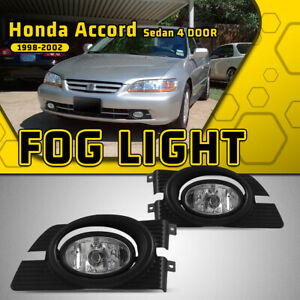 For 98 02 Honda Accord Sedan Driving Fog Lights Clear Lamps Switch Wiring Kit