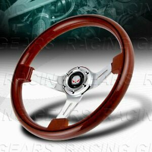 Universal 350mm 14 Class Dark Wood Grip 6 hole Chrome 3 spoke Steering Wheel