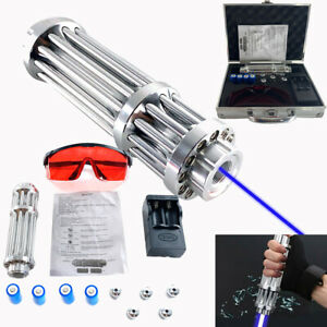 Blue Visible Beam Light Powerful Laser Pointer W 4 16340 Batteries box 450nm Us