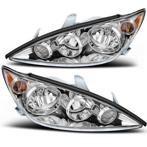 Chrome Lamp For 2005 2006 Toyota Camry Headlights Headlamps Assembly Replacement