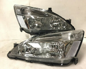 Euro Chrome Housing Clear Reflector Headlights Lamp For 03 07 Accord Coupe Sedan