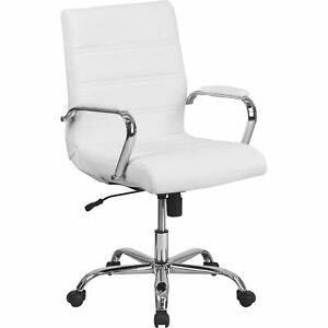 Flash Furniture Mid back Leather Office Chair With Chrome Arms White Go2286mwh
