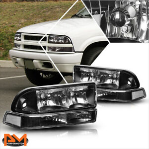 For 98 04 Chevy S10 Blazer Black Housing Headlight W Clear Bumper Corner Lamps