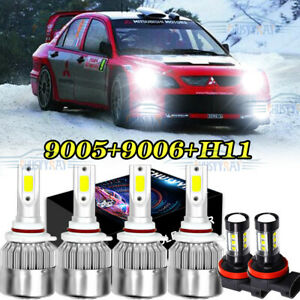 For Mitsubishi Lancer 08 17 6x Combo 9005 9006 Led Headlight H11 Fog Light Bulbs