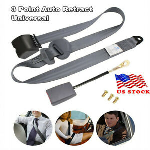 1 Set Safety Gray 3 Point Retractable Car Seat Lap Belt Adjustable Kit Universal