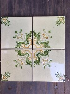 Antique Victorian Ceramic Wall Tiles Architectural Art Nouveau 4 Tile Sets