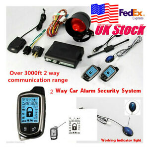 Car Security Alarm System Set Kit W Siren Lcd Pager Anti Theft Usa Stock