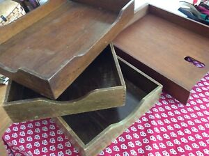 Lot 4 Vintage Wood Desk Trays 3 Dovetailed With Felt Bottoms 1 W o Felt