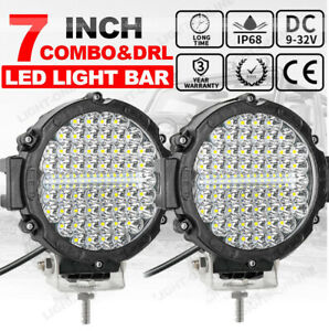 2x 7 Inch 200w Round Off Road Drl Led Work Lights For Jeep Ford Bumper Truck 4wd
