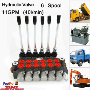 6p40 6 Spool Hydraulic Directional Adjustable Control Valve 11gpm Double Acting