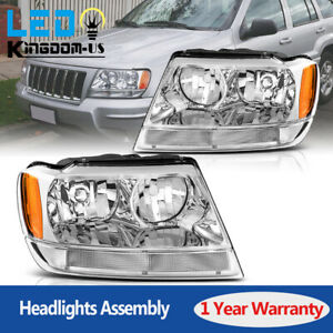 For 1999 2004 Jeep Grand Cherokee Clear Lens Headlights Headlamps Replacement