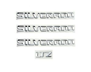 4x Chrome Silverado Ltz Nameplate Badges Letter 3d Emblems 1500 2500hd