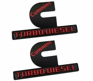 2 Pcs Cummins Turbo Diesel Emblems 2500 3500 Fender Badges Nameplate Black Red
