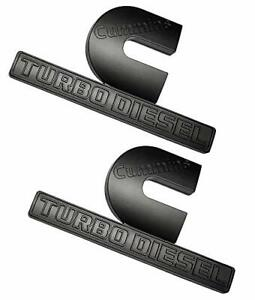 2x Big Cummins Turbo Diesel Emblems 2500 3500 Fender Badges Matte Black Stickers