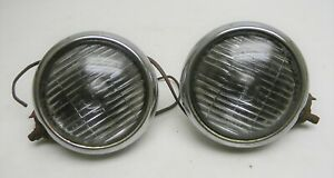 Vintage 4 5 8 Guide Fog Lamps W Mounting Brackets Fog Lights Gm Pair Clear