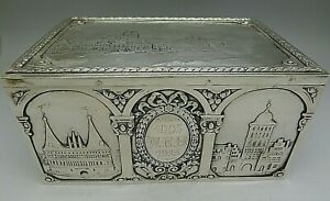Rare Huge Solid 800 Silver Jewelry Cigar Box German 1913 Dresden Coins Amazing