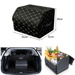 Car Pu Leather Fordable Storage Bag Console Cargo Trunk Organizer Large Capacity