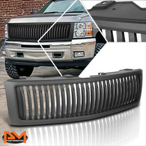 For 07 13 Chevy Silverado 1500 Vertical Fence Style Front Bumper Grille Matte