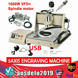 5 Axis 6040 Router Usb Engraver Metal Pcb Engraving Milling Machine 1500w Vfd