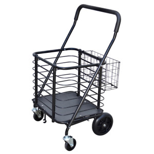 Heavy duty Steel Shopping Cart Accessory Basket Heavy duty Padded Handle Black