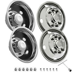 Wheel Simulators For Ford F450 F550 19 5 1999 2002 8 Lug Stainless 4pcs 2wd 4wd