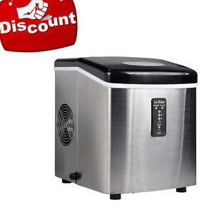 Smeta 33lbs day Countertop Ice Machine Bullet shape Ice Maker Stainless Steel