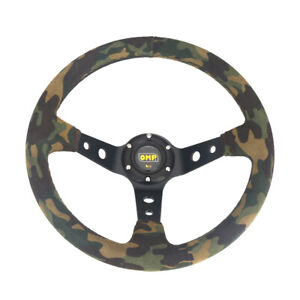 350mm Universal Racing Car Deep Corn Camouflage Suede Steering Wheel 14 Inch New