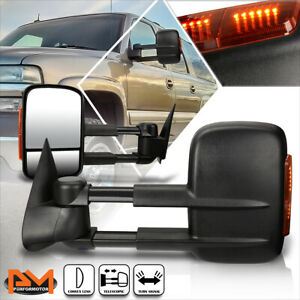 For 99 06 Chevy Silverado Gmc Sierra Manual Black Towing Mirror Led Signal Lamp