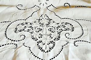 Vintage Hand Embroidered Linen Tablecloth Openwork Needle Lace Insertions Vv566