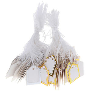 200x Gold Border Label Tie String Ticket Jewelry Merchandise Price Tags erci