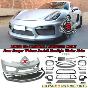 Gt4 Style Front Bumper W Drl W O Hl Washer Fit 13 16 Porsche 981 Boxster Cayman