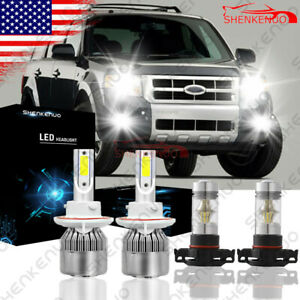 4x 6000k Combo Led Hi lo Beam Headlight Fog Light Bulb For 2008 2012 Ford Escape