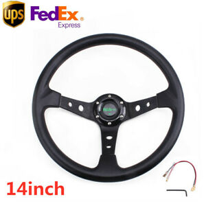 Us 14inch Deep Dish 95mm 6 Bolt Racing Steering Wheel Pu Leather Horn Button Bk