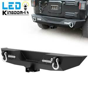 Textured Rear Bumper For 2007 2018 Jeep Wrangler Jk W Led Light Hitch Receiver