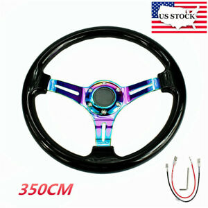 14 Car Racing Steering Wheel 350mm Abs Deep Dish Drifting Neo Chrome Black Us