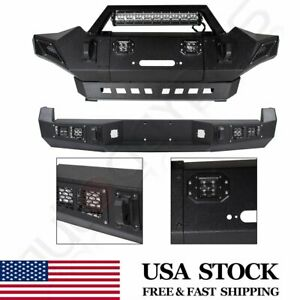 Front Rear Bumper For Toyota Tacoma 2005 2015 W Led Lights Guard Steel Winch