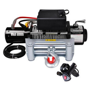 8000lb Electric Recovery Winch Truck Suv Trailer Towing Wireless Remote 5 5hp