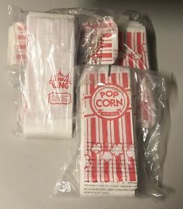 400 Carnival King 8 Paper Popcorn Machine Bag 1 Ounce Red White Small